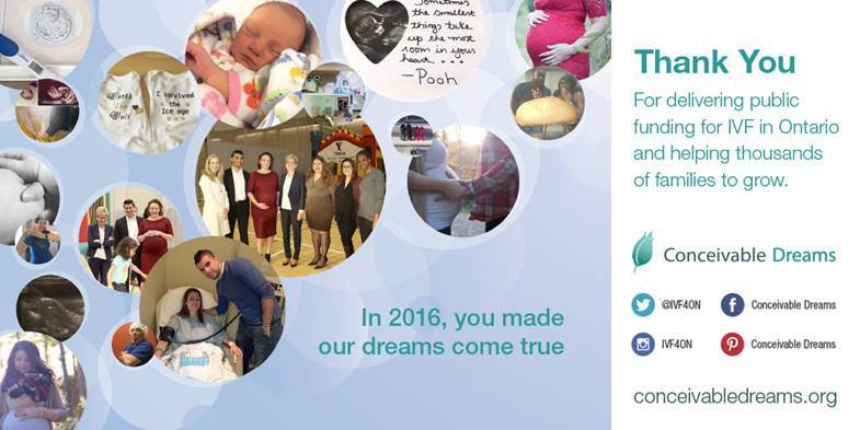 Thank You to the Ontario Government at one year anniversary of funded fertility program